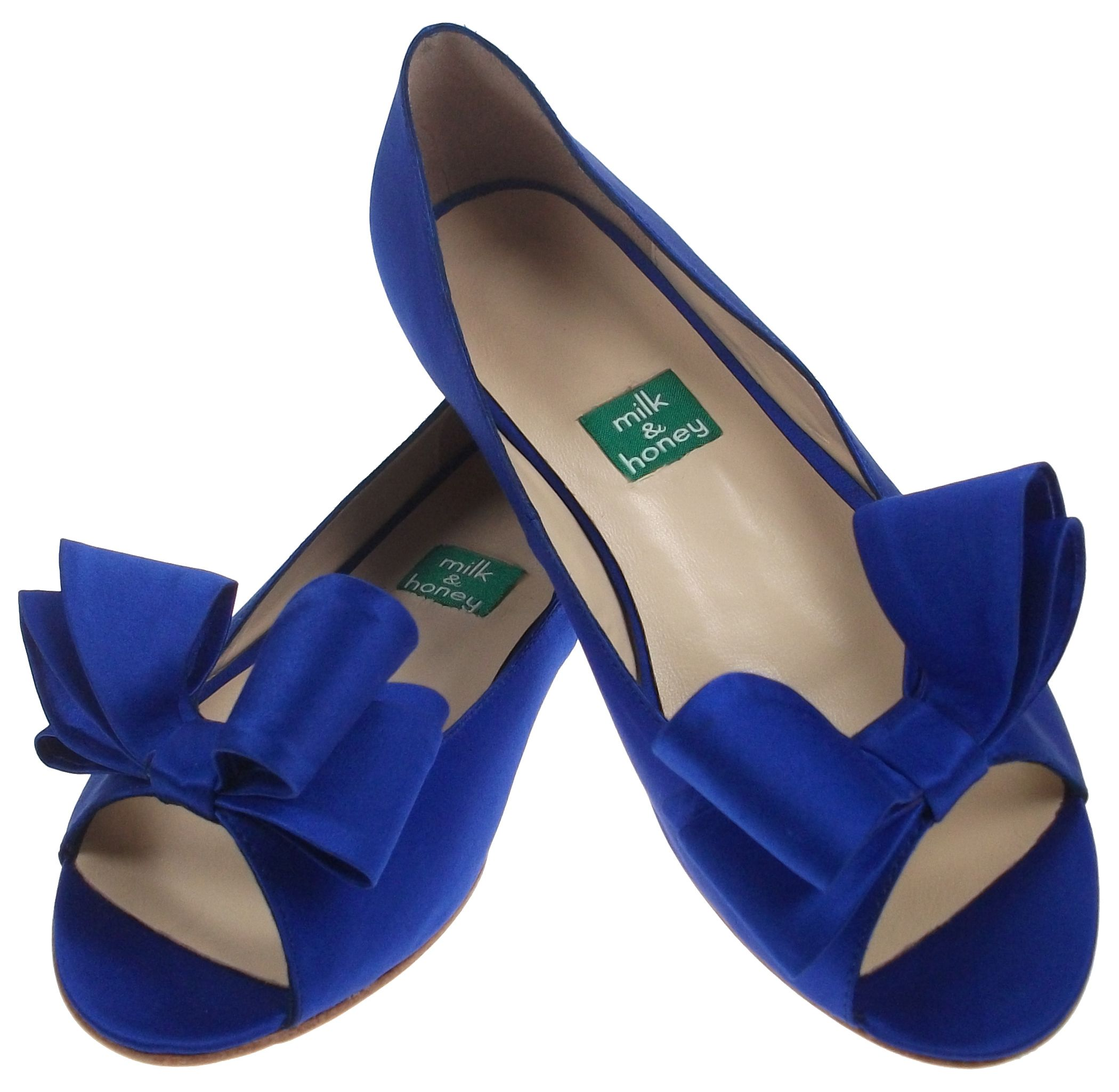 Milk & Honey Blue Peep Toe Satin Flats, $250