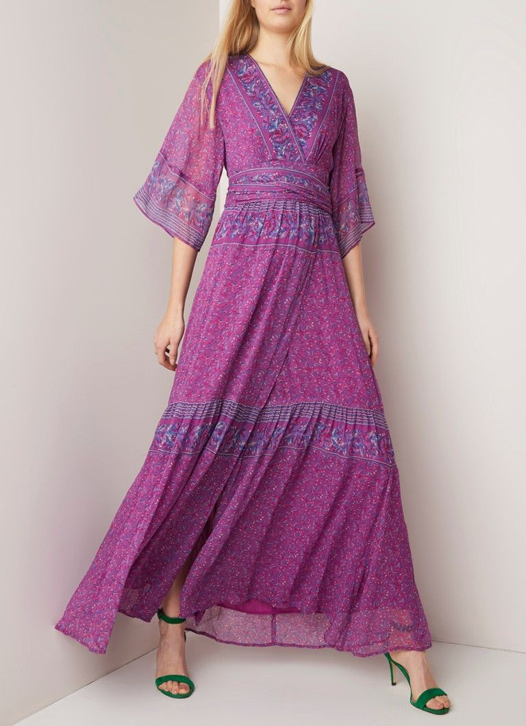 ba&sh Maya maxi jurk van crêpe met bloemendessin • de