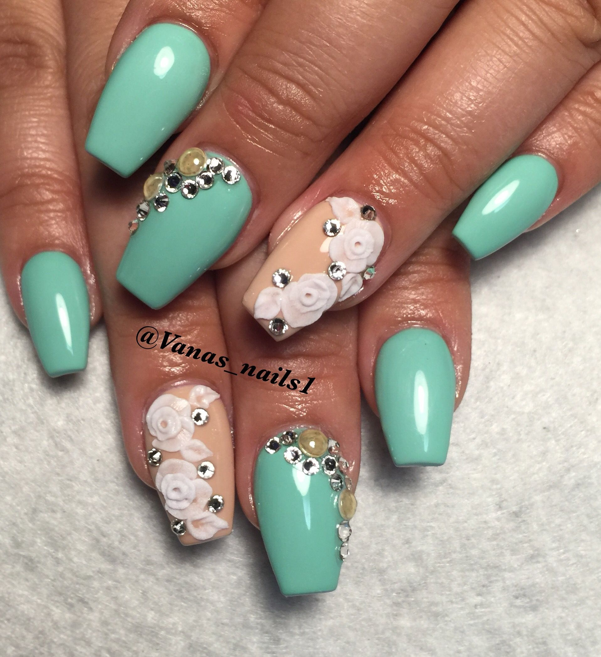 Coffin nail art design 3d flowers mint vanas nails pinterest coffin nail art design 3d flowers mint prinsesfo Choice Image
