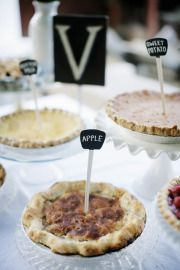 Pies! Paint sticks with chalkboard paint and label accordingly.