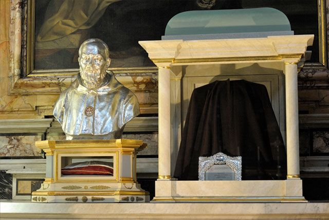 San Salvatore in Lauro, Rome.  Chapel of St. Joseph.  Here are displayed several relics pertaining to St. Pio of Pietrelcina.
