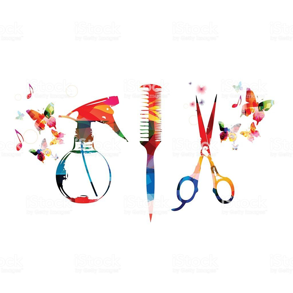 Hairdressing Tools Background With Colorful Comb Scissors And