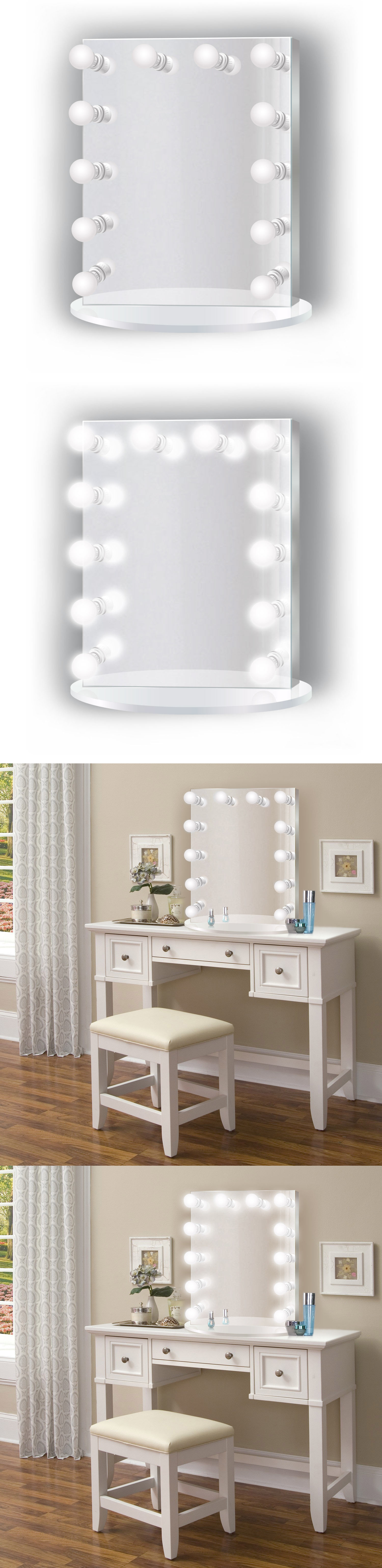 plug in vanity mirror. Makeup Mirrors  Led Lighted Vanity Wh Hollywood Mirror 25 X31 Table Or Wall Mount