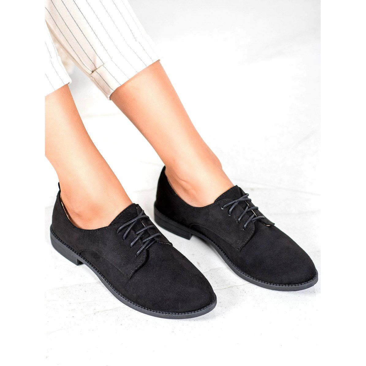Shelovet Zamszowe Polbuty Czarne Dress Shoes Men Oxford Shoes Shoes