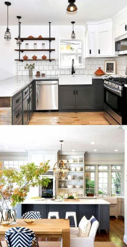 Kitchen cabinets dark bottom light top layout 65+ ideas ...