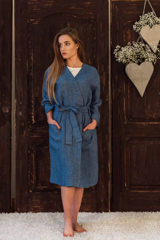 Linen bath robe blue, sauna robe, blue lightweigh morning robe ...