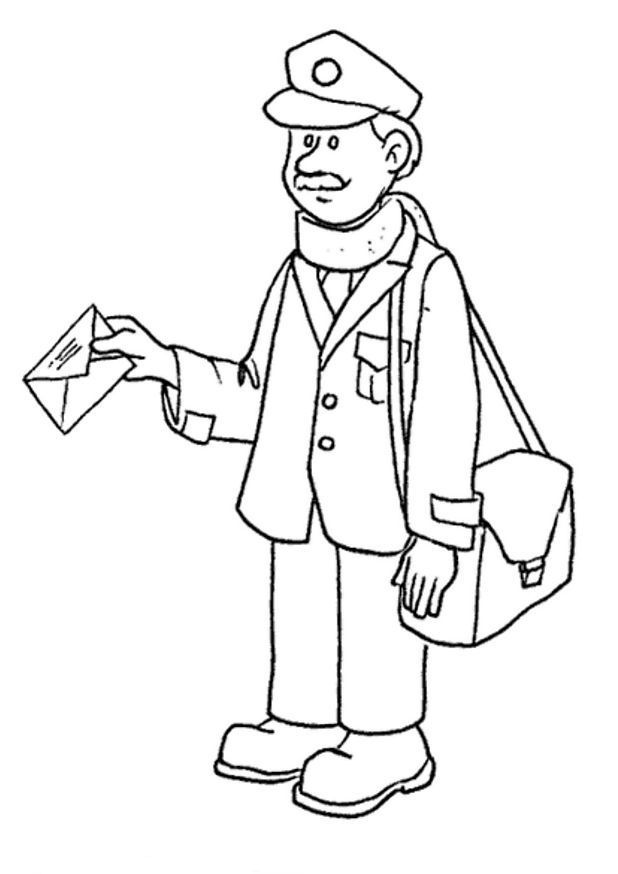 Postman 3 coloring page | Post Office | Pinterest | School