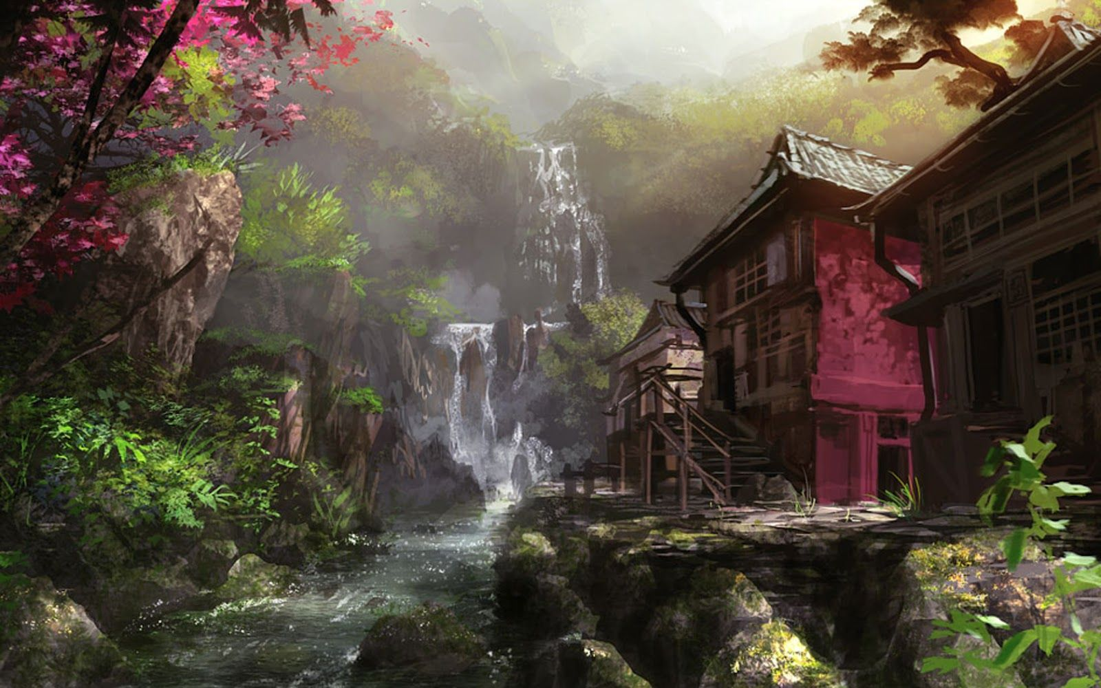 Descargar Wallpaper Para Computadoras Gratis In 2020 Landscape Artwork Environment Painting Wallpaper Pc