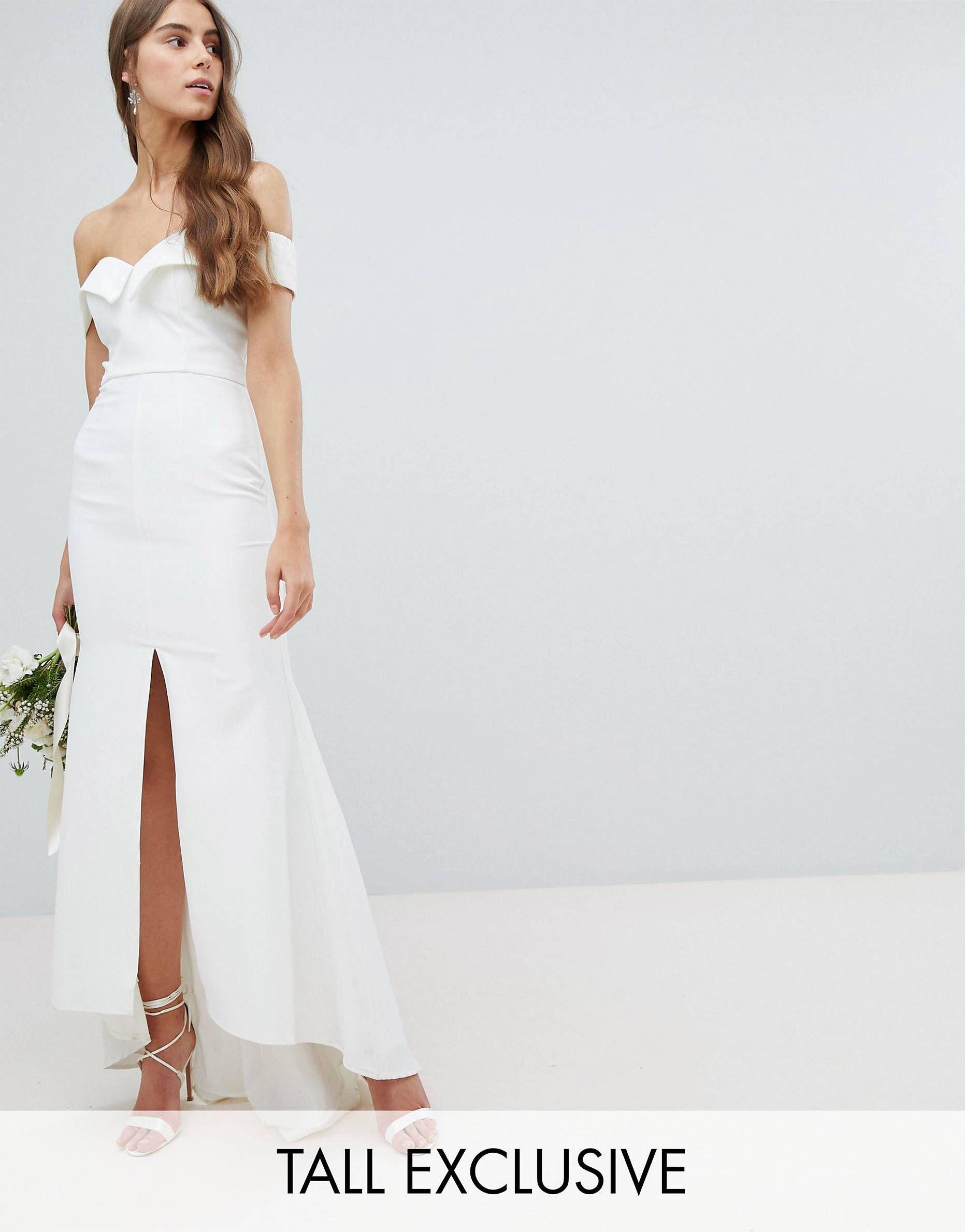 Jarlo Tall Bardot Maxi Dress With Thigh Split And Train Detail White Bridal Dresses Asos Wedding Dress Dresses