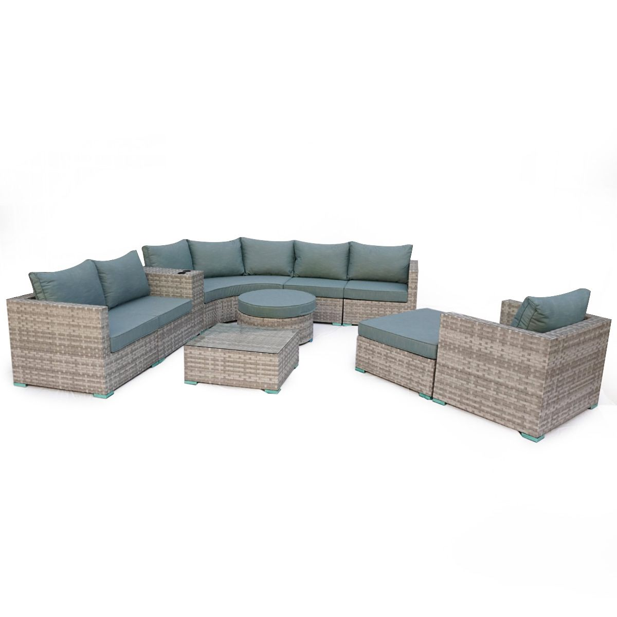 Rattan Corner Lounge Set Sofa Dining Table Stool Wicker Weave Garden Patio Yard Set Sofa Patio Stool