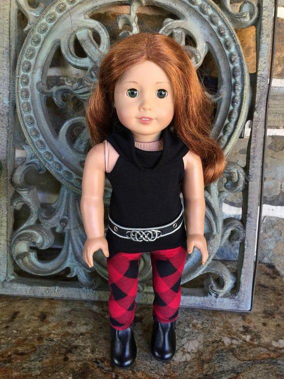 18 inch doll clothes made to fit dolls like the American Girl Doll- Diagonal check leggings #18inchdollsandclothes
