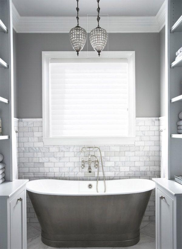 16 ba os grises elegantes y modernos 16 elegant and modern grey bathrooms ideas decoraci n - Banos azulejos pintados ...