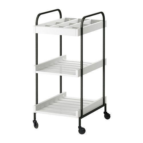 IKEA - HJÄLMAREN, Rollwagen, weiß, , Mobil - inklusive Rollen - badezimmer rollwagen