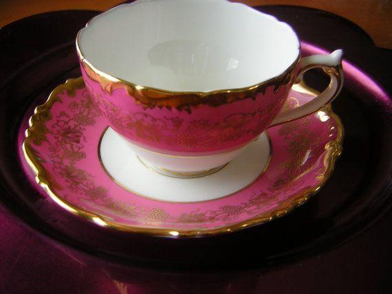 Vintage Coalport Teacup and Saucer in Hazelton Pattern Gold Grapevine over Pink Rim Gold Trim #pinkrims