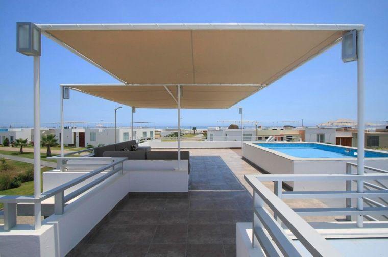 Jardin Et Terrasse En Ville Moderne Avec Carrelage Et Piscine Avec Pergola Rooftop Design Rooftop Terrace Design Terrace Design