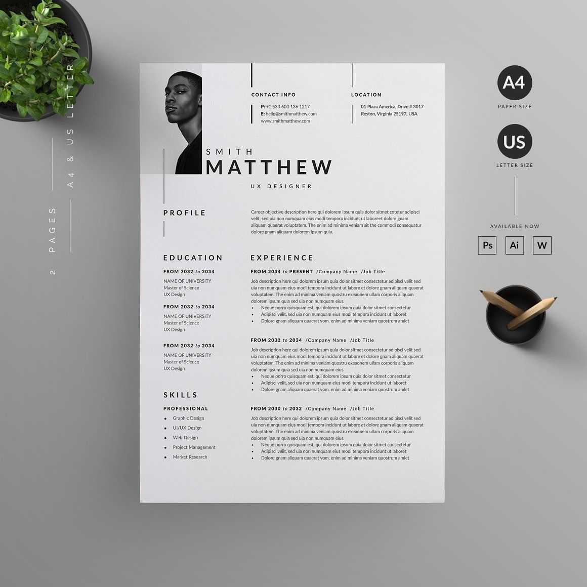 Professional Resume Cv Template Cv Resume For Your Job Application It Is Easily Editab In 2021 Strong Typography Graphic Design Background Templates Resume Templates