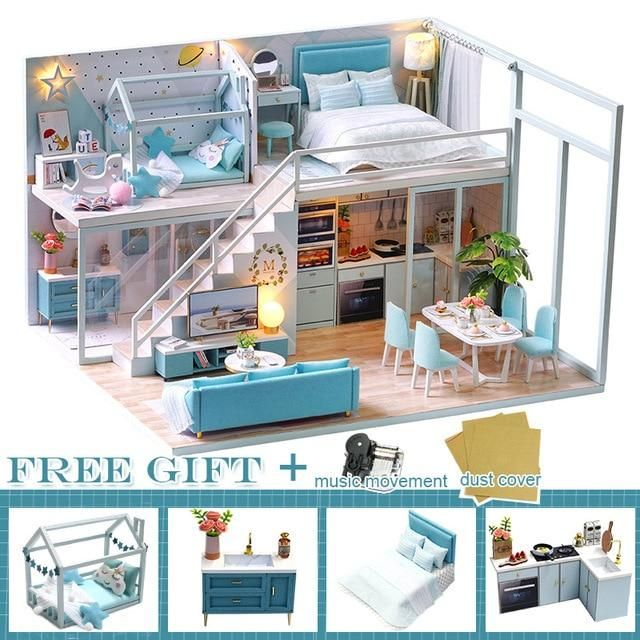 Photo of CUTEBEE DIY Dollhouse Wooden doll Houses Miniature Doll House Furniture Kit Casa Music Led Toys for Children Birthday Gift M21 – China / L28C
