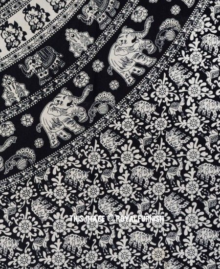 Black and White Indian Elephant Mandala Tapestry Wall Hanging Hippie Bedspread images