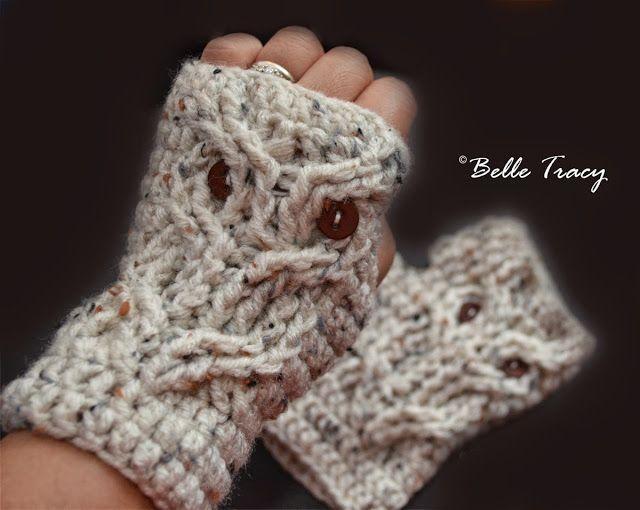 free crochet pattern owl fingerless mitts ༺✿ƬⱤღ https://www ...
