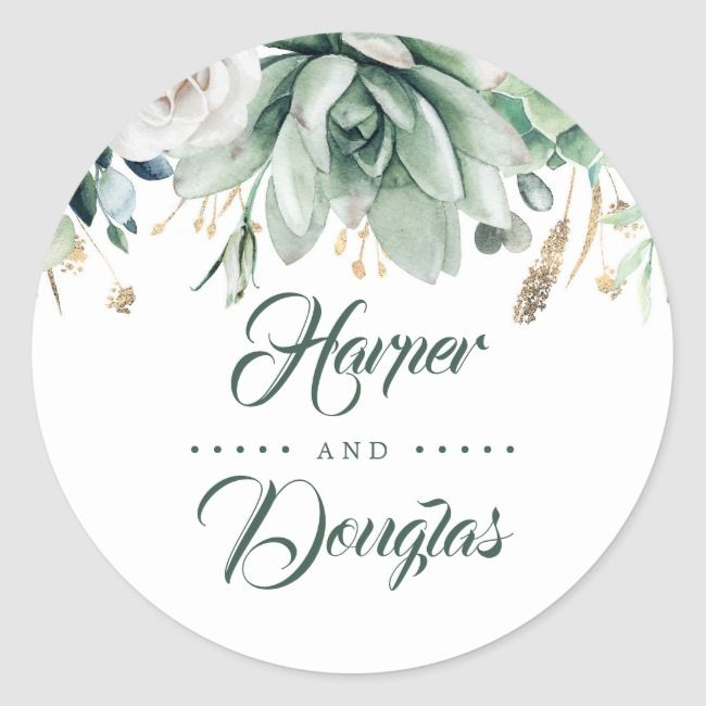 Greenery and Gold  Botanical Elegant Wedding Classic Round Sticker  There is always a better idea out there