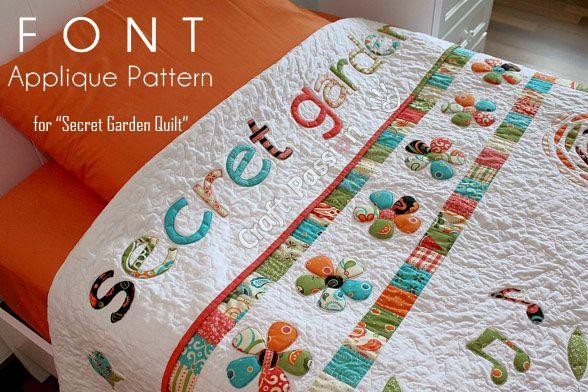 Secret Garden Font Applique Free Pattern Applique