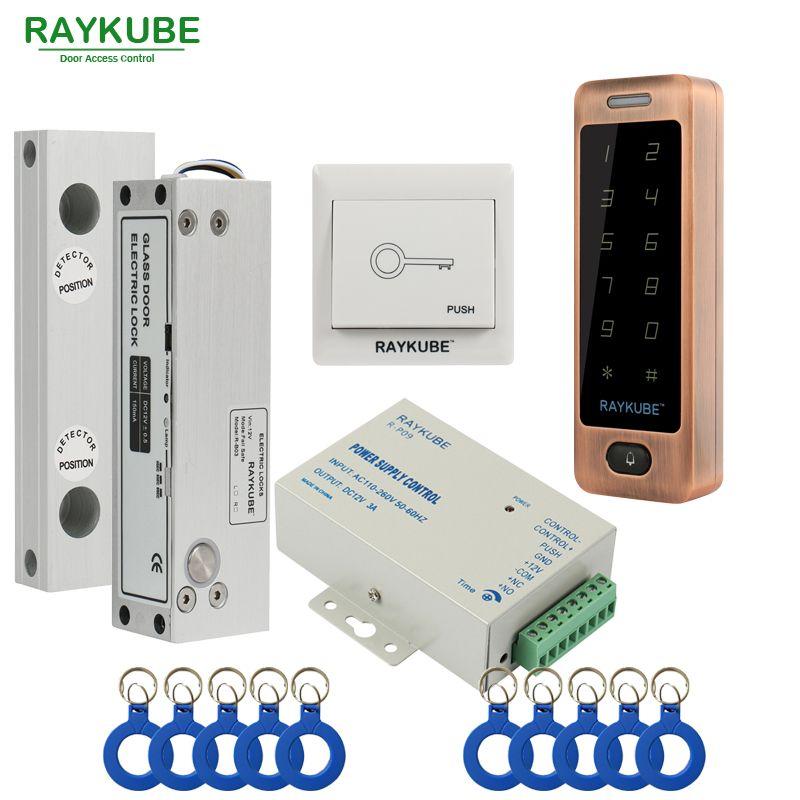 Raykube Glass Door Access Control Kit Electric Bolt Lock Touch Metal Rfid Reader Access Control Keypad Frameless Glass Door Men Hats Watches Belts Fa