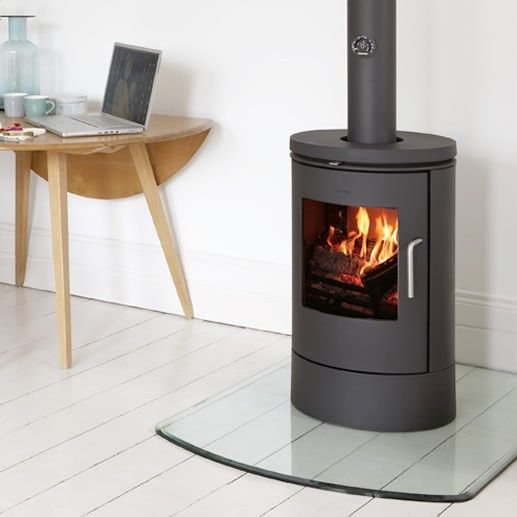 Glass Hearth Glass Floor Plate With Curved Front Freestanding Fireplace Wood Burning Stove Log Burner