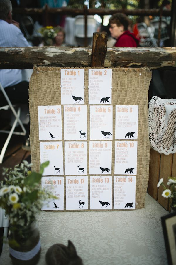 DIY Woodsy Mountain Wedding Seating charts, Reception seating - wedding charts