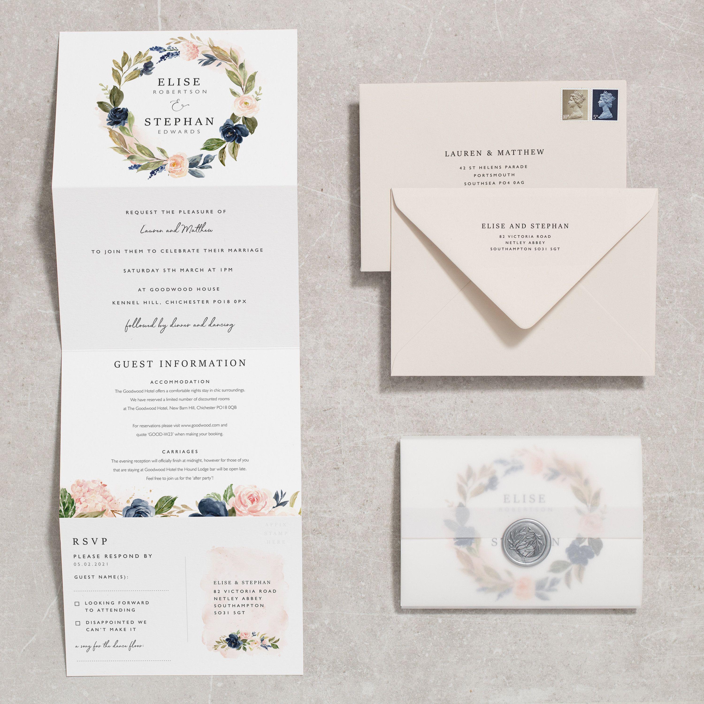 Navy And Blush Concertina Wedding Invitation With Wax Seal Etsy Wedding Invitations Wedding Invitations