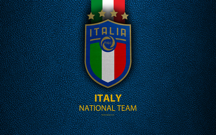 Download Wallpapers Italy National Football Team 4k Blue Leather Texture New Logo Uefa Europe Emblem Italy New Emblem Football Creative Art Flag Of I Italy National Football Team Italy Flag Sports