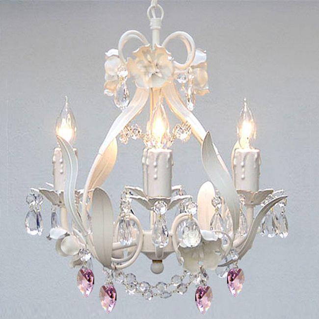 Beautiful Mini 4 Light White Fl Crystal Chandelier Lighting Lights Lamps New