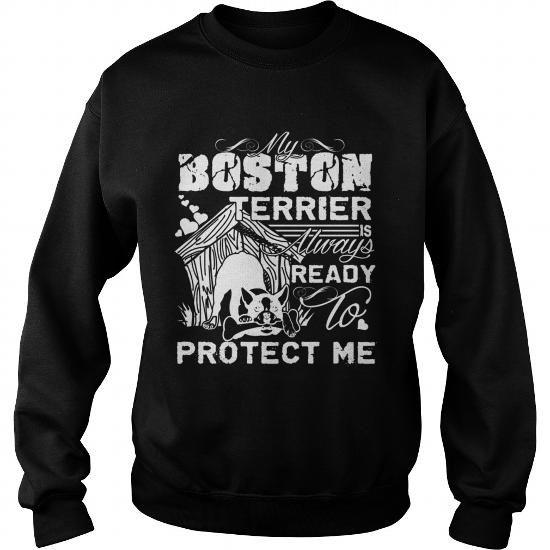 Cool My Boston Terrier Always Protect Me Grandpa Grandma Dad Mom Girl Boy Guy Lady Men Women Man Woman Dog Lover T shirts
