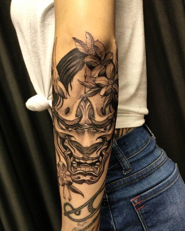 Hannya Mask Girl Tattoo: Hannya Mask Today. Thanks Victoria! #hannya #chronicink