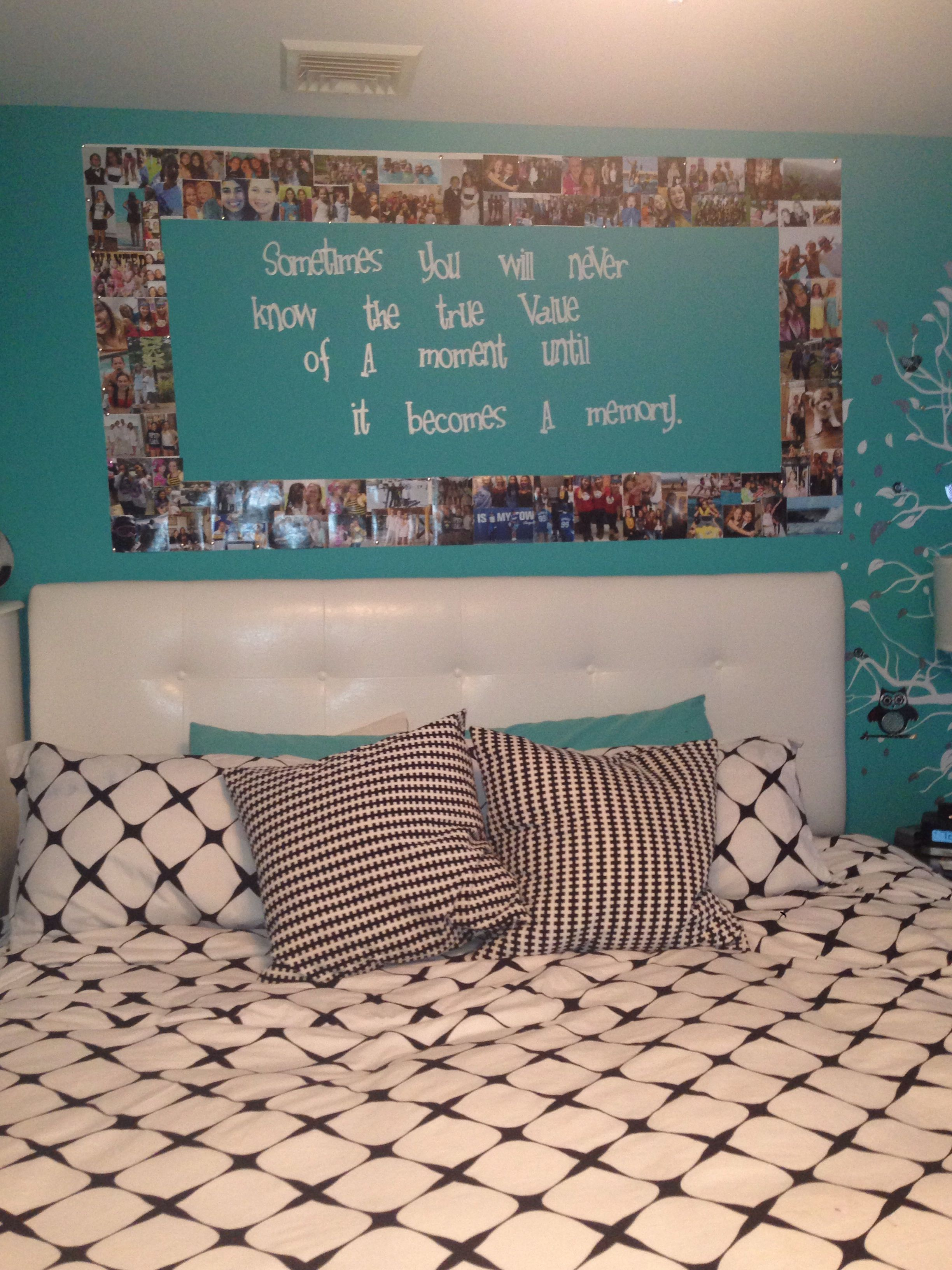 Picture frame on wall and quote in the middle bedroom - Picture wall ideas for bedroom ...