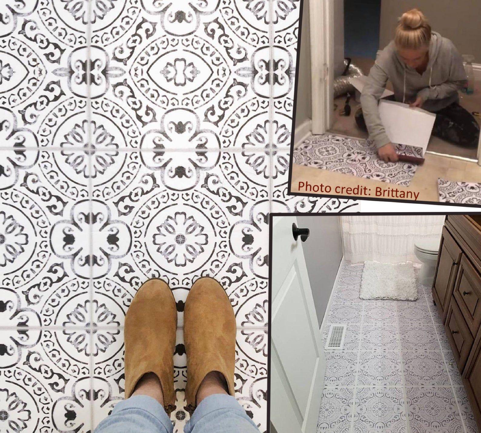Tile Sticker Kitchen Bath Floor Wall Waterproof Removable Peel N Stick A72 Black White In 2020 Tile Stickers Kitchen Peel And Stick Floor Wall Waterproofing