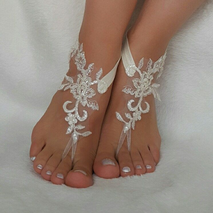 Cream Lace Beach Wedding Barefoot Sandals Handmade Anklets Bangles Bridesmaid Gifts Embroidered Shoes Accessories Free Ship Country Foot Accessory