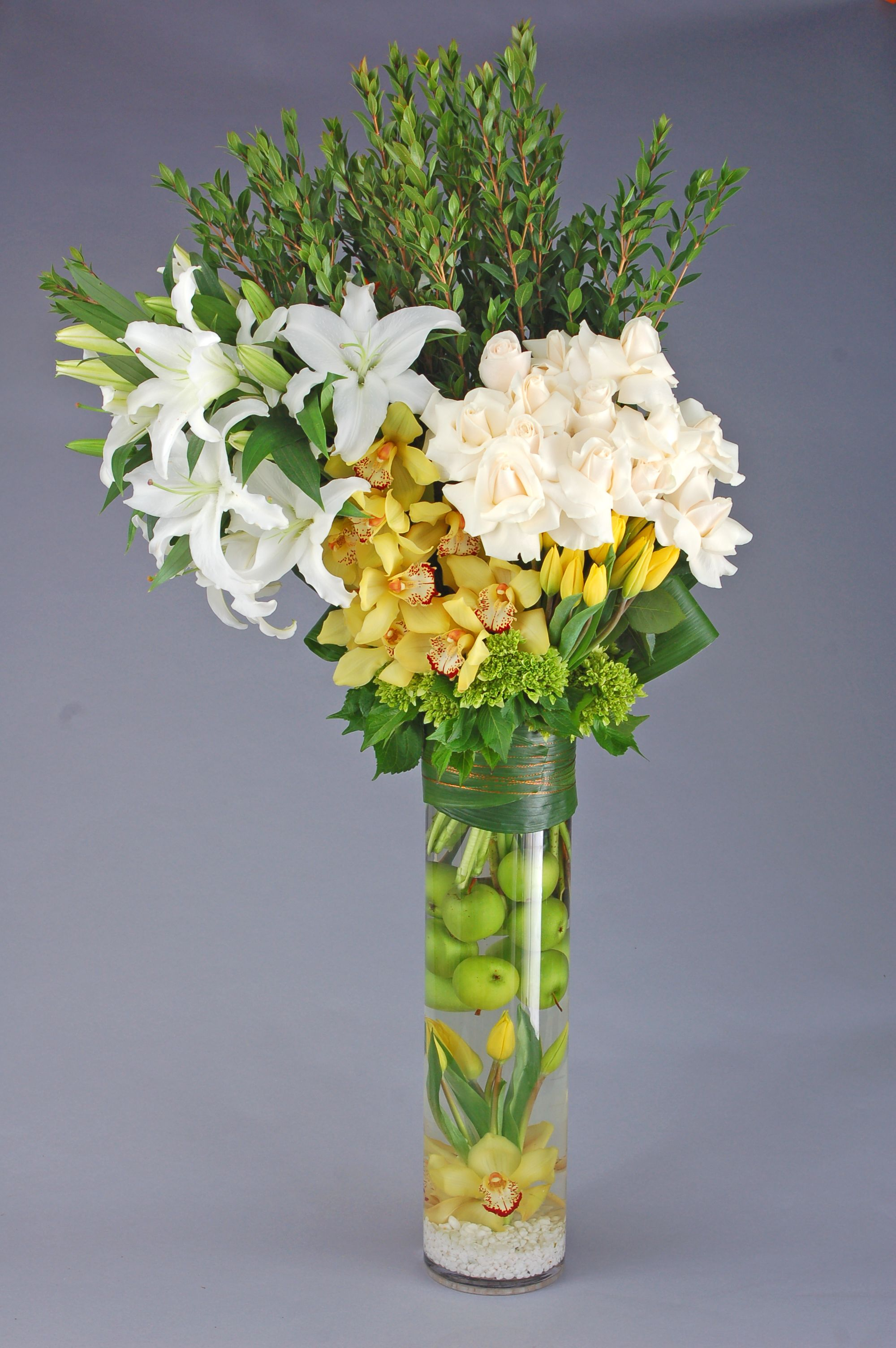 Tall Citrus Floral Arrangement Perfect For Spring Or Summer