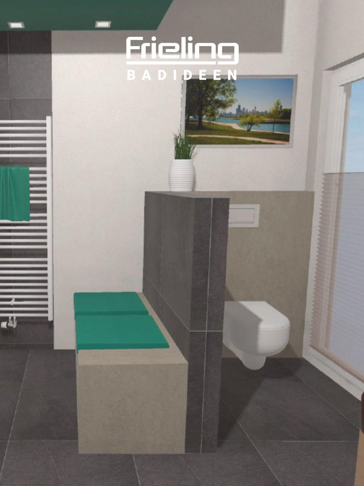 Das Wellness Bad Mit Whirlwanne Ansicht Wc Sitzbank Badheizkorper Badezimmer T Wand Sitzbank Bad Walk In Dusche