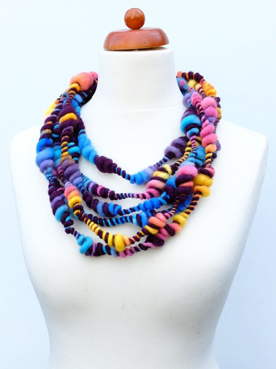 Art Yarn Necklace  Scarf Wool Is Cool  Wearable art by WoolStories