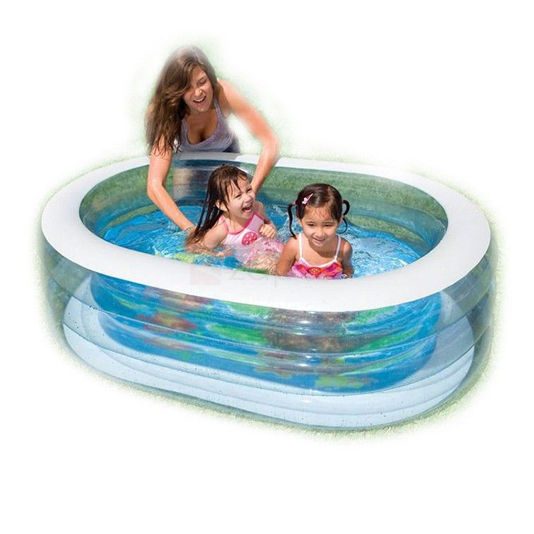 Intex Inflatable Elliptical Baby Pool Large Capacity Bath Tub Pvc Material Is Highly Resistant To Damage From