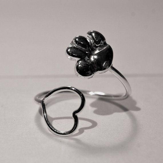 Adjustable paw heart ring - sterling silver ring - silver ...