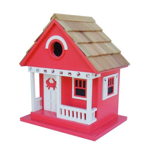 Home Bazaar Crab Cottage Birdhouse Red >>> More info could be found at the image url.