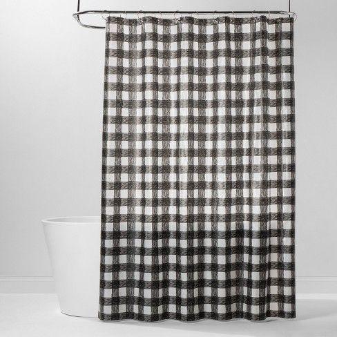 Peva Buffalo Plaid Shower Curtain Black White Room Essentials Plaid Shower Curtain Black White Rooms Black Curtains