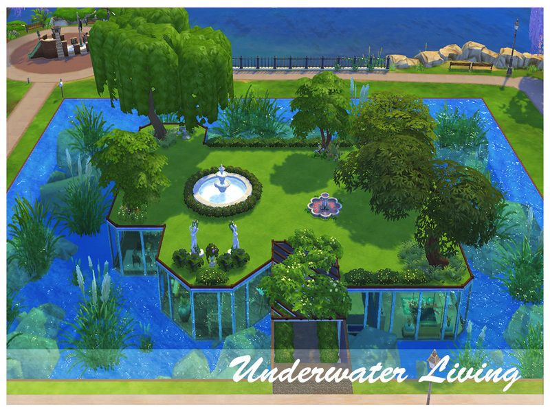 Let your sims feel like mermaids living in this underwater house! It has everything you need including 4 bedrooms, 3 bathrooms, beautiful kitchen and dining area, room for yoga and sports and even...