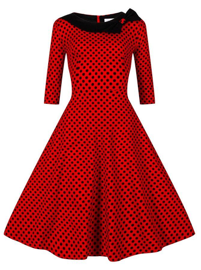 2ab3f993552b9d Polka Dots Bateau Mittlere Länge Rot 50er Vintage Stil Kleid in 2019 ...