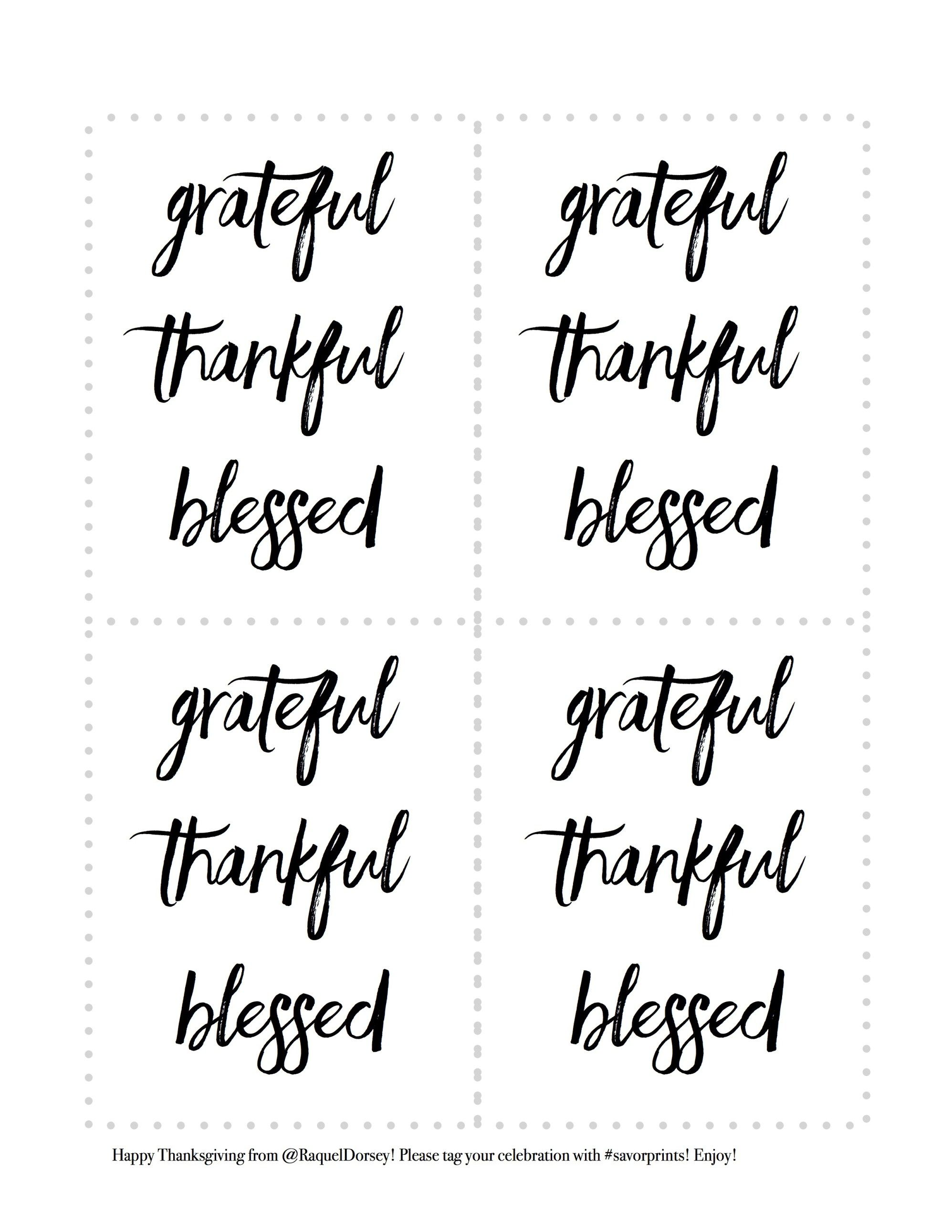 grateful thankful blessed FREE place cards | thanksgiving | easter | holiday