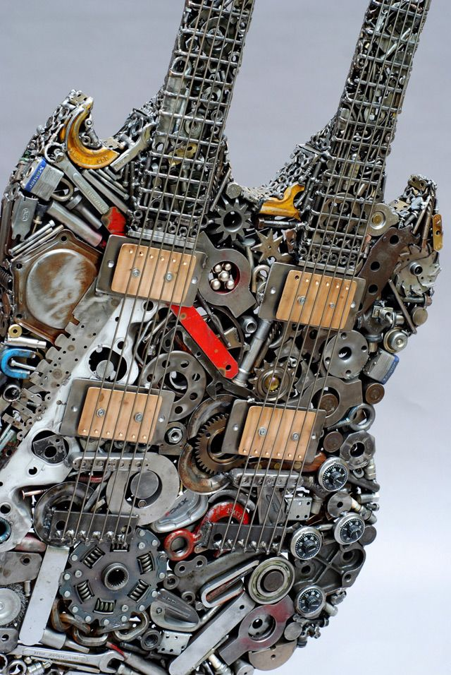 Welded Sculptures Made from Found Objects and Recycled Materials by Brian Mock, Heavy Metal Guitar