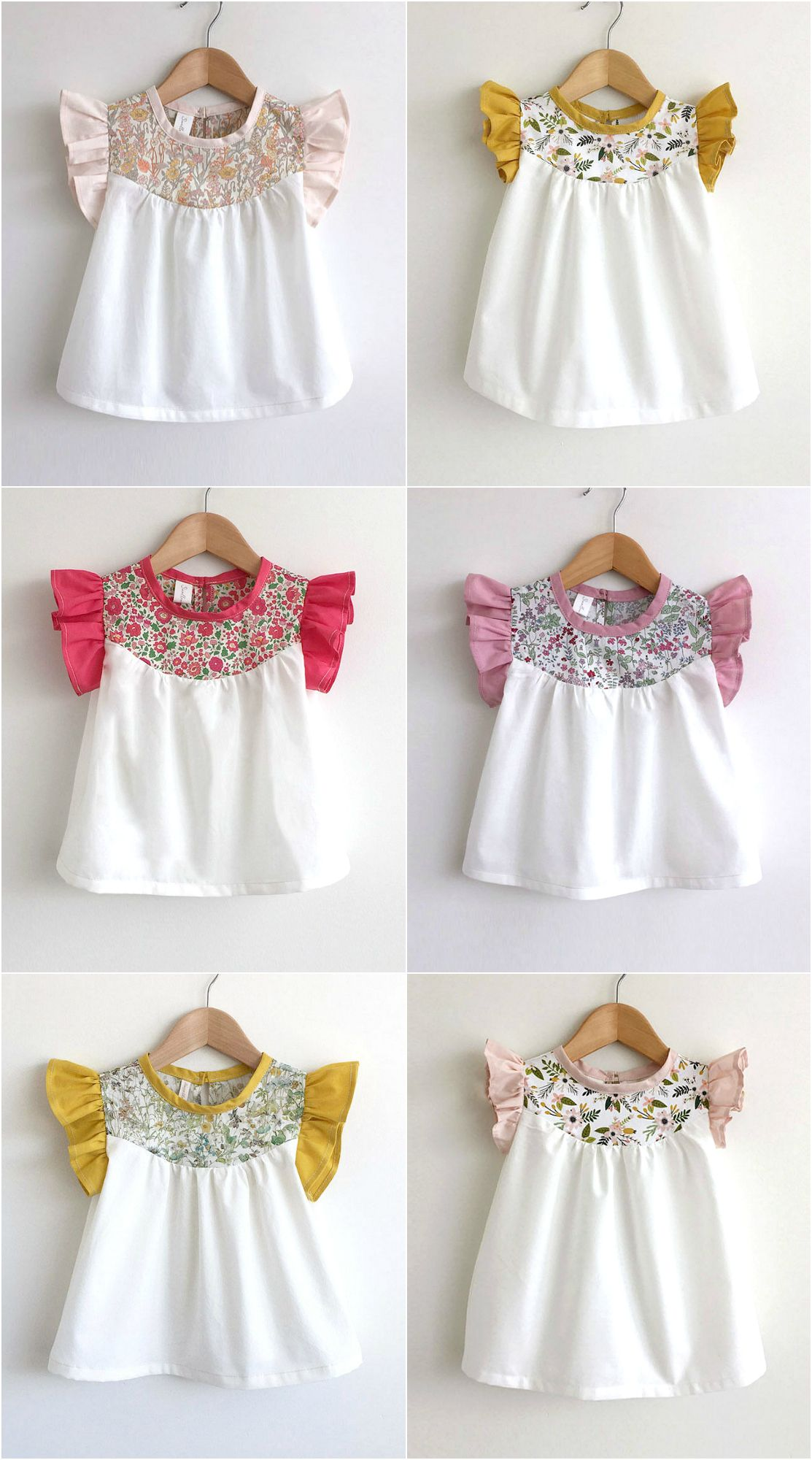 Girls Handmade Cotton Blouses With Liberty Floral Detailing ...
