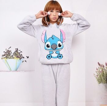 3.55 euro incl shipping Women's long-sleeve coral fleece sleep set cartoon stitch pattern pullover with a hood lounge