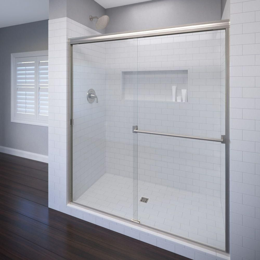 Basco Classic 48 In X 70 In Clear Semi Framed Bypass Shower Door In Brushed Nickel 3500 48clbn The Home Depot Tub Doors Shower Doors Frameless Sliding Shower Doors Semi frameless sliding shower door